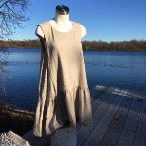 Free people cream peplum sleeveless dress